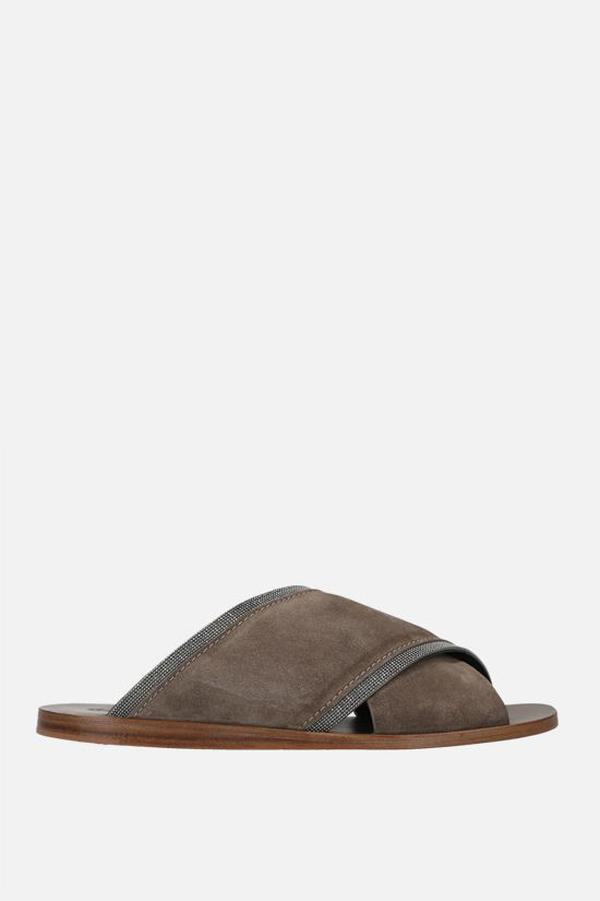 BRUNELLO CUCINELLI: monili-detailed suede flat sandals Color Grey_1