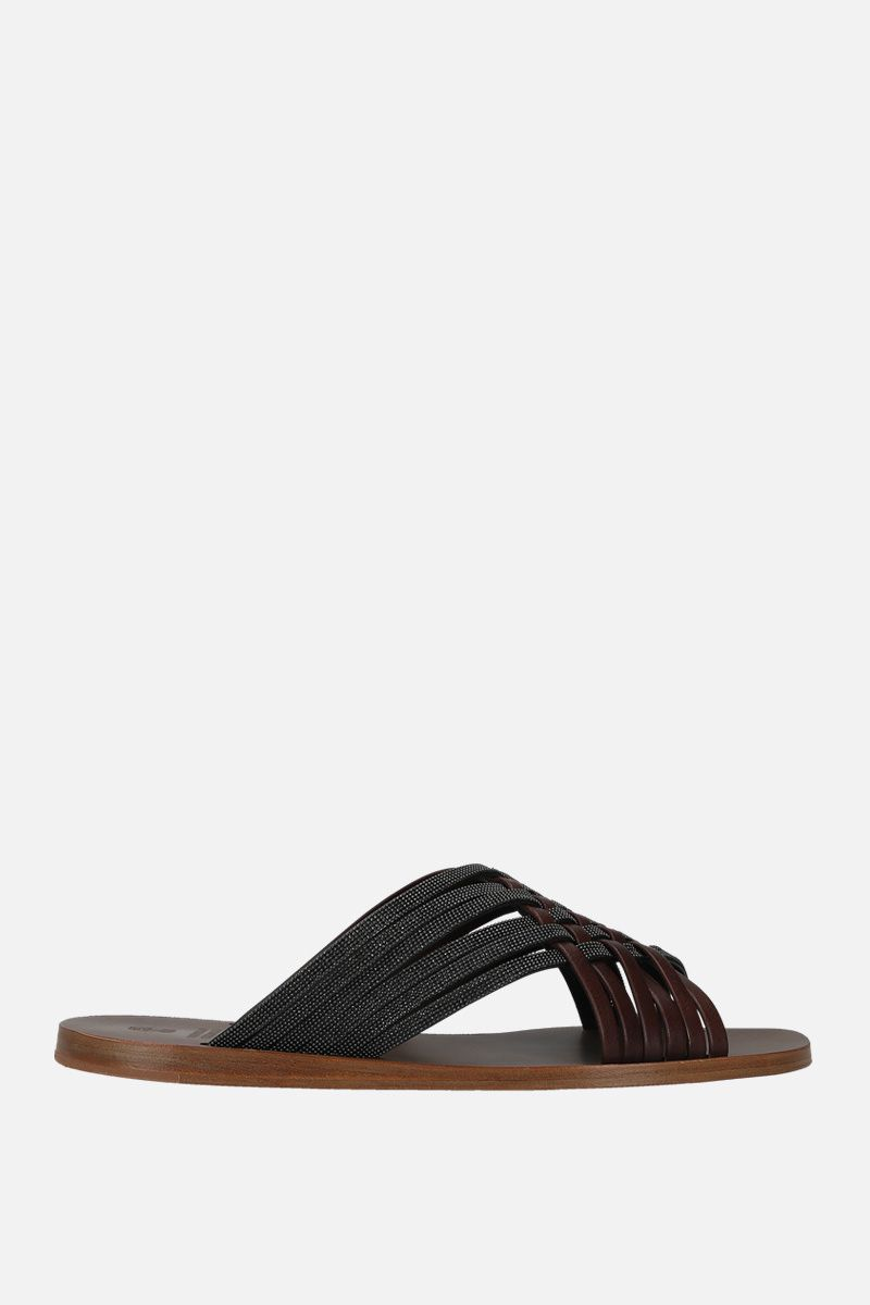 BRUNELLO CUCINELLI: monili-decorated woven leather flat sandals Color Brown_1
