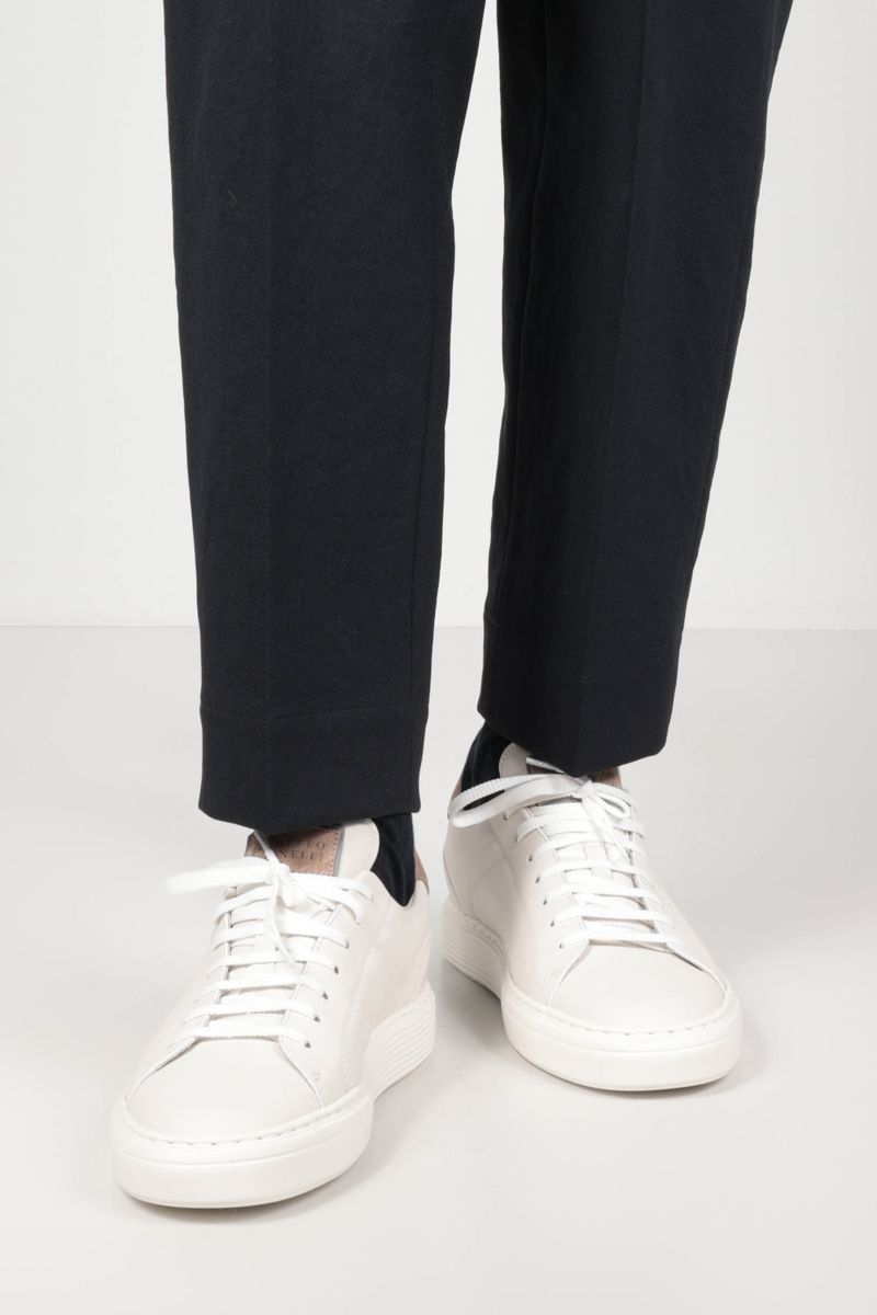 BRUNELLO CUCINELLI: logo-detailed smooth leather sneakers_2