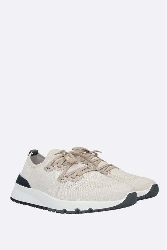 BRUNELLO CUCINELLI: technical knit and suede sneakers Color Neutral_2