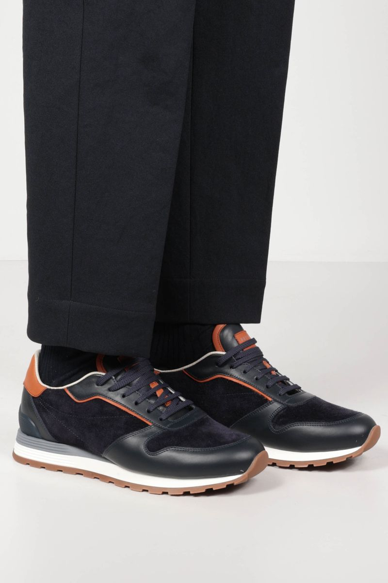 BRUNELLO CUCINELLI: smooth leather and suede sneakers_2