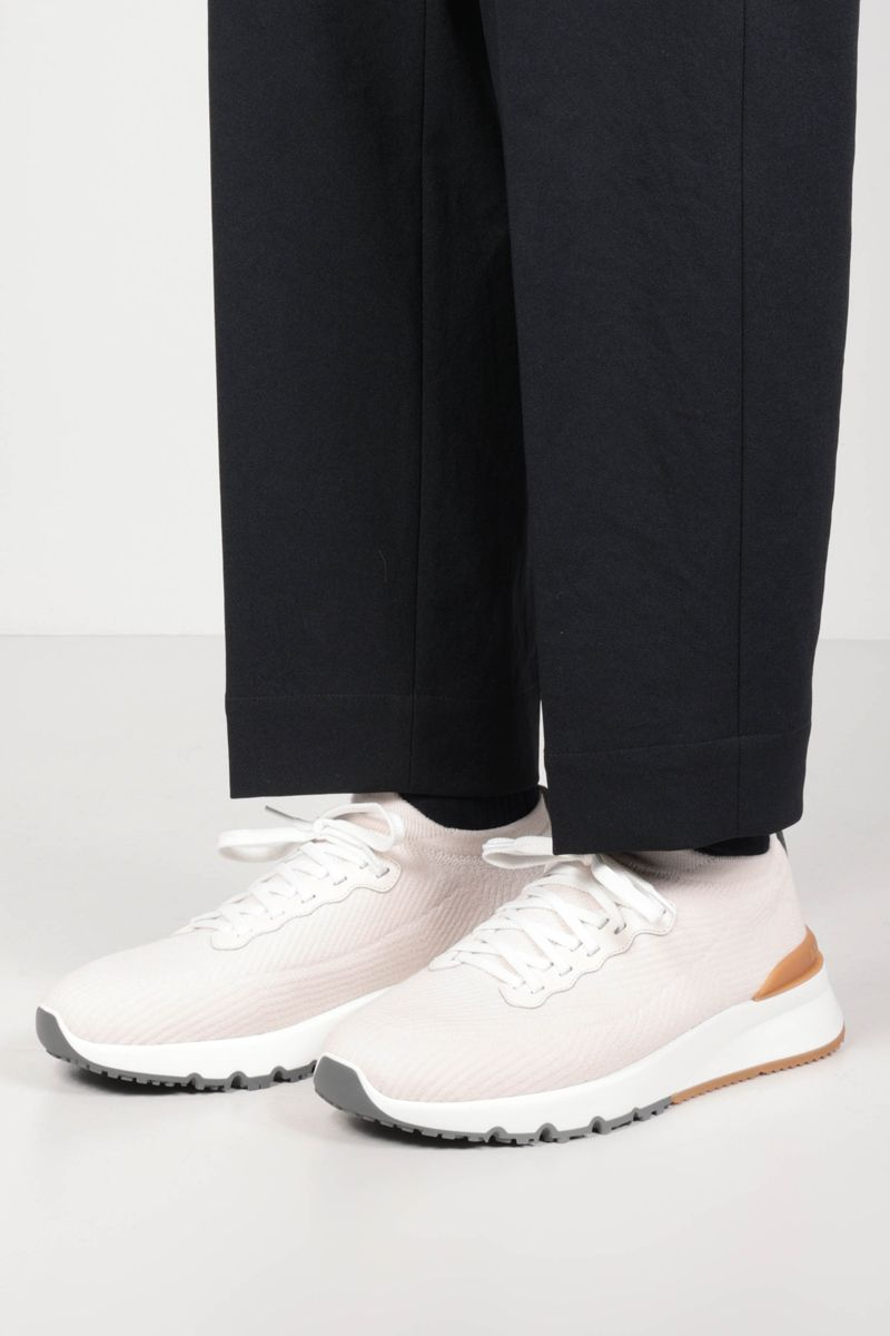 BRUNELLO CUCINELLI: wool knit sneakers Color White_2
