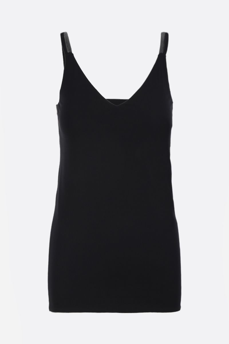 BRUNELLO CUCINELLI: stretch jersey top with monili detailing Color Black_1