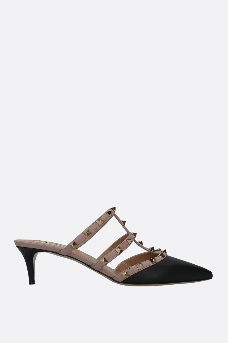 VALENTINO GARAVANI: Rockstud smooth leather mules Color Black_1