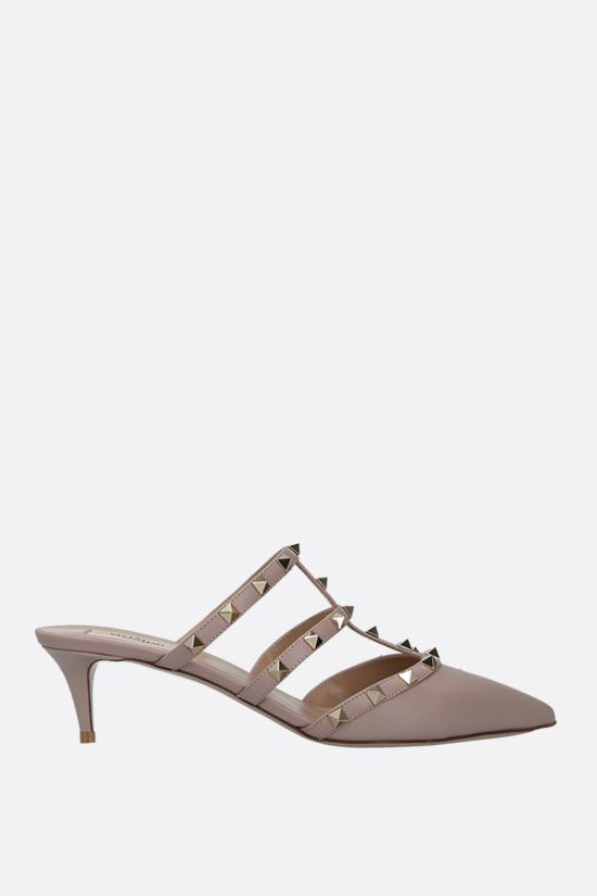 VALENTINO GARAVANI: Rockstud smooth leather mules Color Neutral_1