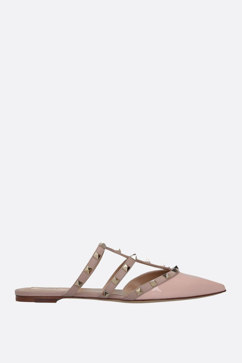 VALENTINO GARAVANI: Rockstud slippers in smooth and patent leather Color Pink_1
