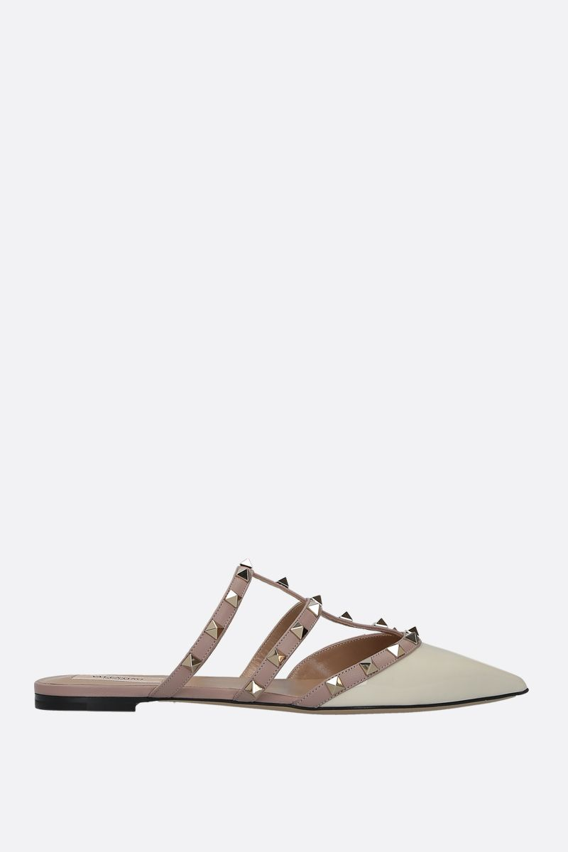 VALENTINO GARAVANI: Rockstud slippers in smooth and patent leather Color Neutral_1