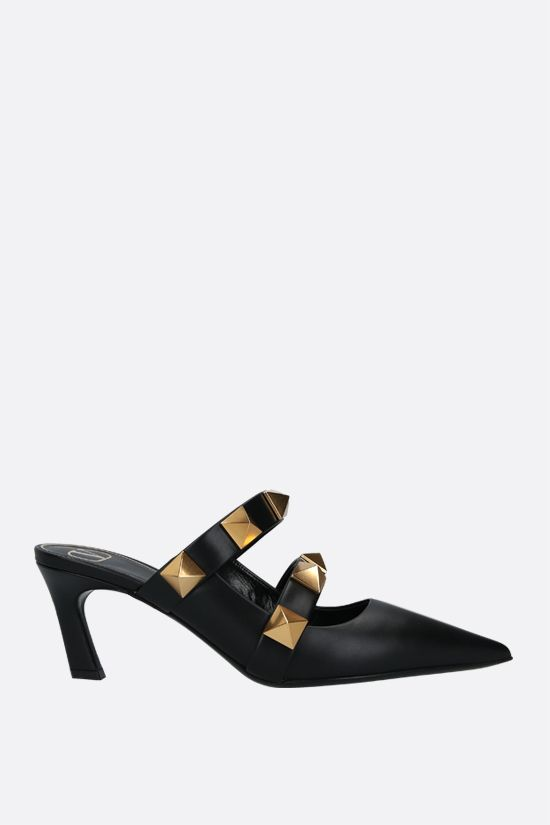 VALENTINO GARAVANI: Roman Stud smooth leather mules Color Black_1