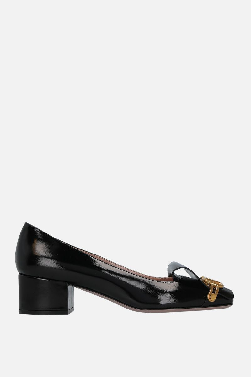 VALENTINO GARAVANI: VLOGO pumps in shiny leather Color Black_1