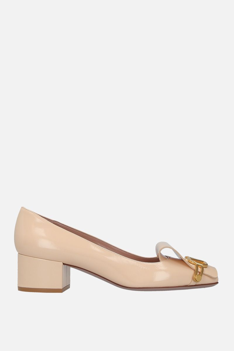 VALENTINO GARAVANI: VLOGO pumps in shiny leather Color Neutral_1