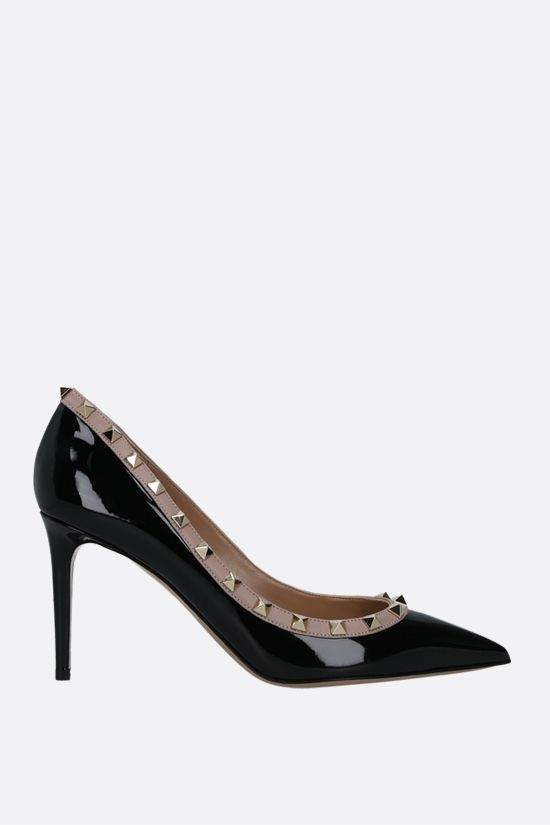 VALENTINO GARAVANI: Rockstud patent leather pumps Color Black_1
