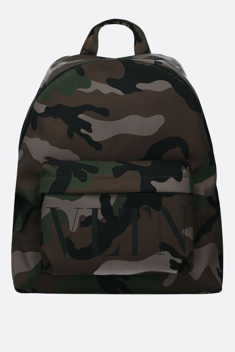 VALENTINO GARAVANI: VLTN camouflage print nylon backpack Color Green_1