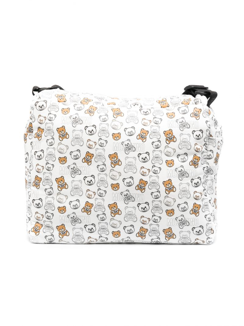 MOSCHINO KIDS: Teddy Bear fabric changing bag Color White_2