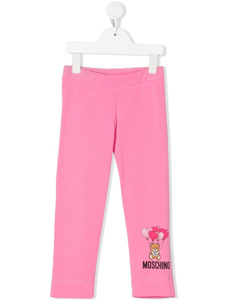 MOSCHINO KIDS: Heart Balloons Teddy Bear stretch cotton leggings Color White_1