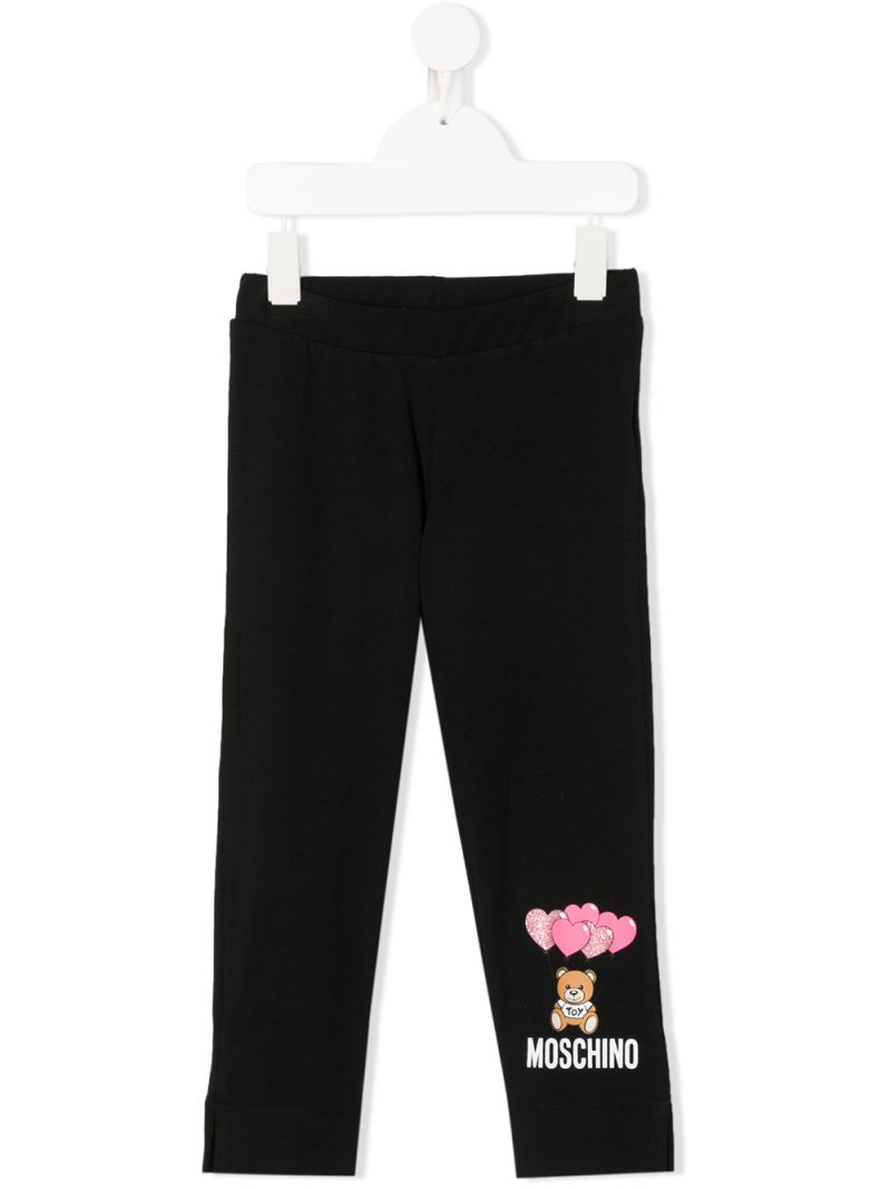 MOSCHINO KIDS: Heart Balloons Teddy Bear stretch cotton leggings Color Black_1