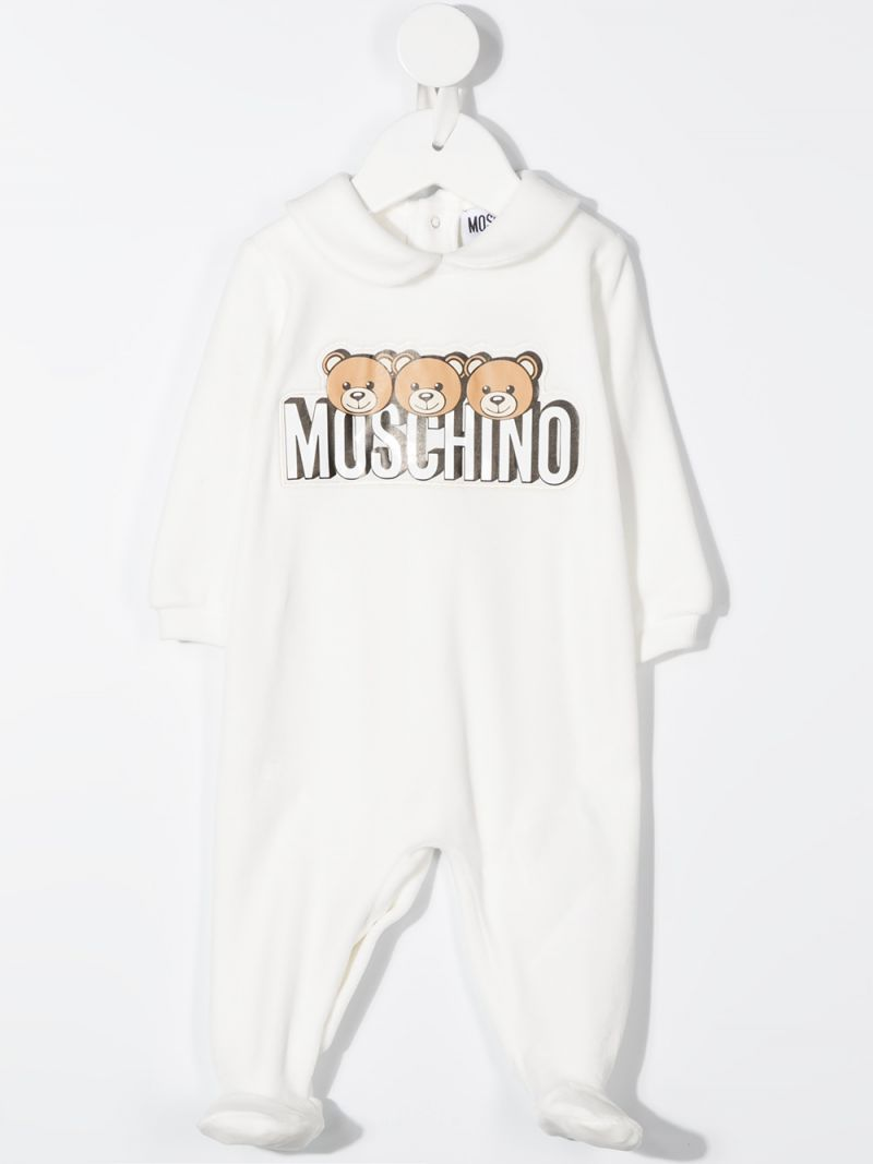 MOSCHINO KIDS: chenille playsuit and beanie set Color Grey_2