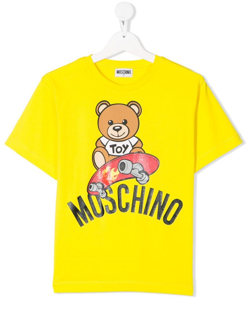 MOSCHINO KIDS: Skateboarder Teddy Bear stretch cotton t-shirt Color Yellow_1