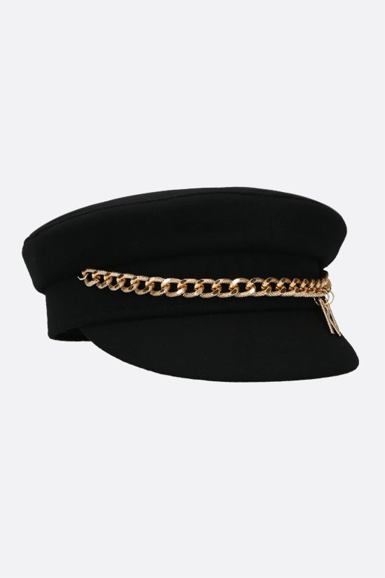 RUSLAN BAGINSKIY: chain-detailed wool felt baker boy cap Color Black_2