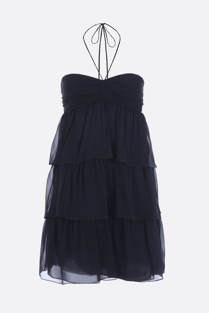SAINT LAURENT: chiffon bustier minidress with flounced structure Color Black_1