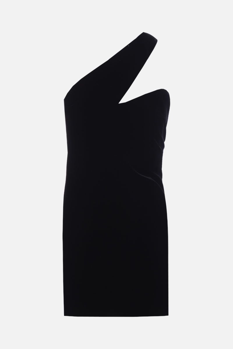 SAINT LAURENT: asymmetric one-shoulder minidress in velvet Color Black_1