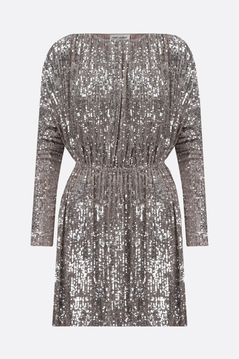 SAINT LAURENT: sequinned fabric minidress Color Neutral_1