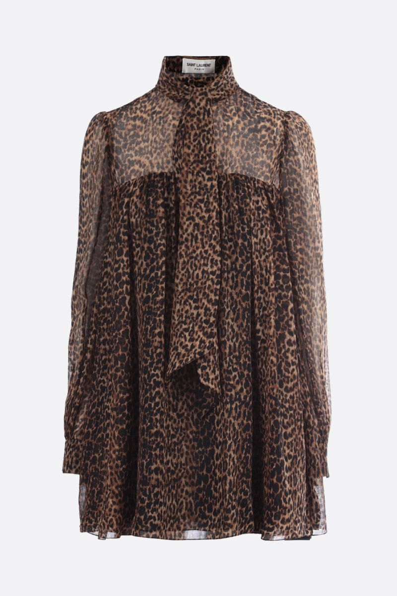 SAINT LAURENT: abito corto in lana stampa leopardo Colore Animalier_1