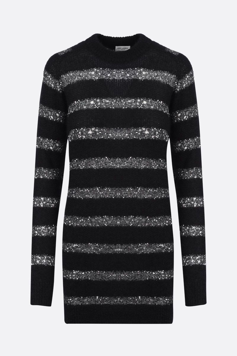 SAINT LAURENT: striped mohair blend pullover dress Color Black_1