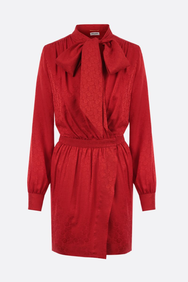 SAINT LAURENT: silk jacquard wrap minidress Color Red_1