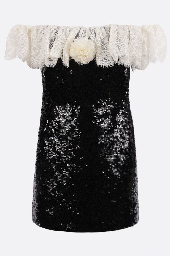 SAINT LAURENT: lace-detailed sequinned fabric bustier minidress Color Black_1