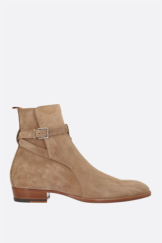 SAINT LAURENT: Wyatt suede ankle boots Color Brown_1