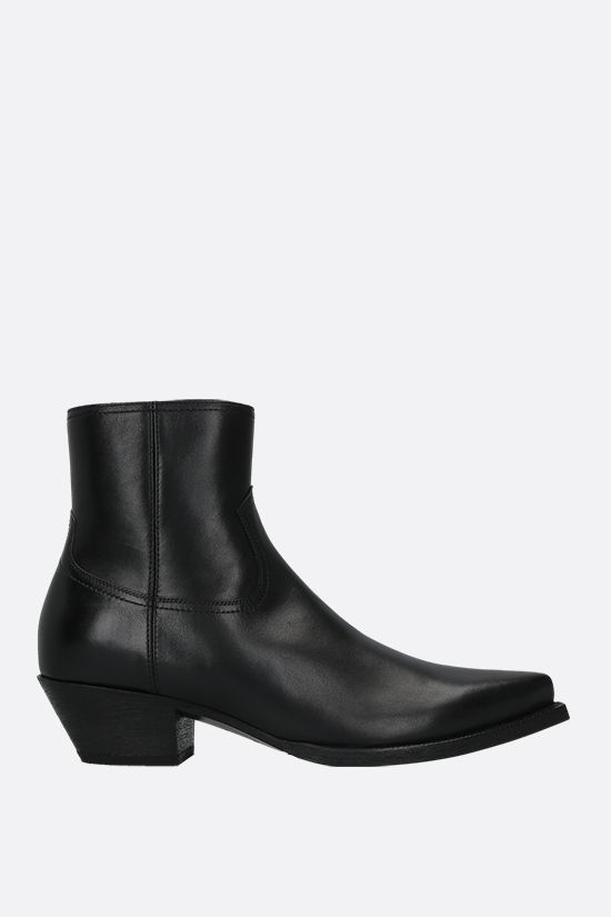 SAINT LAURENT: Lukas smooth leather western boots Color Black_1