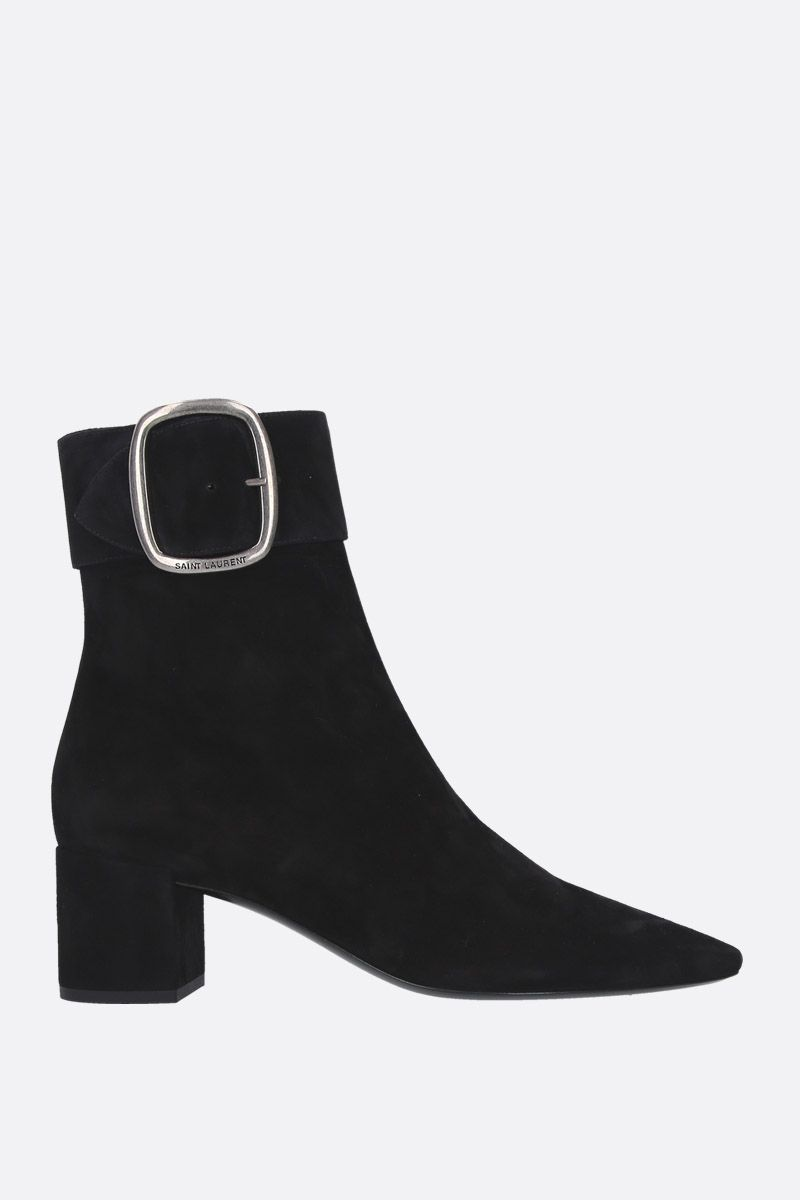 SAINT LAURENT: Joplin ankle boots in suede Color Black_1