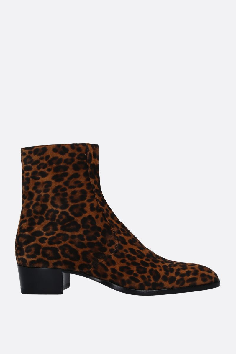 SAINT LAURENT: Wyatt ankle boots in leopard print suede Color Brown_1