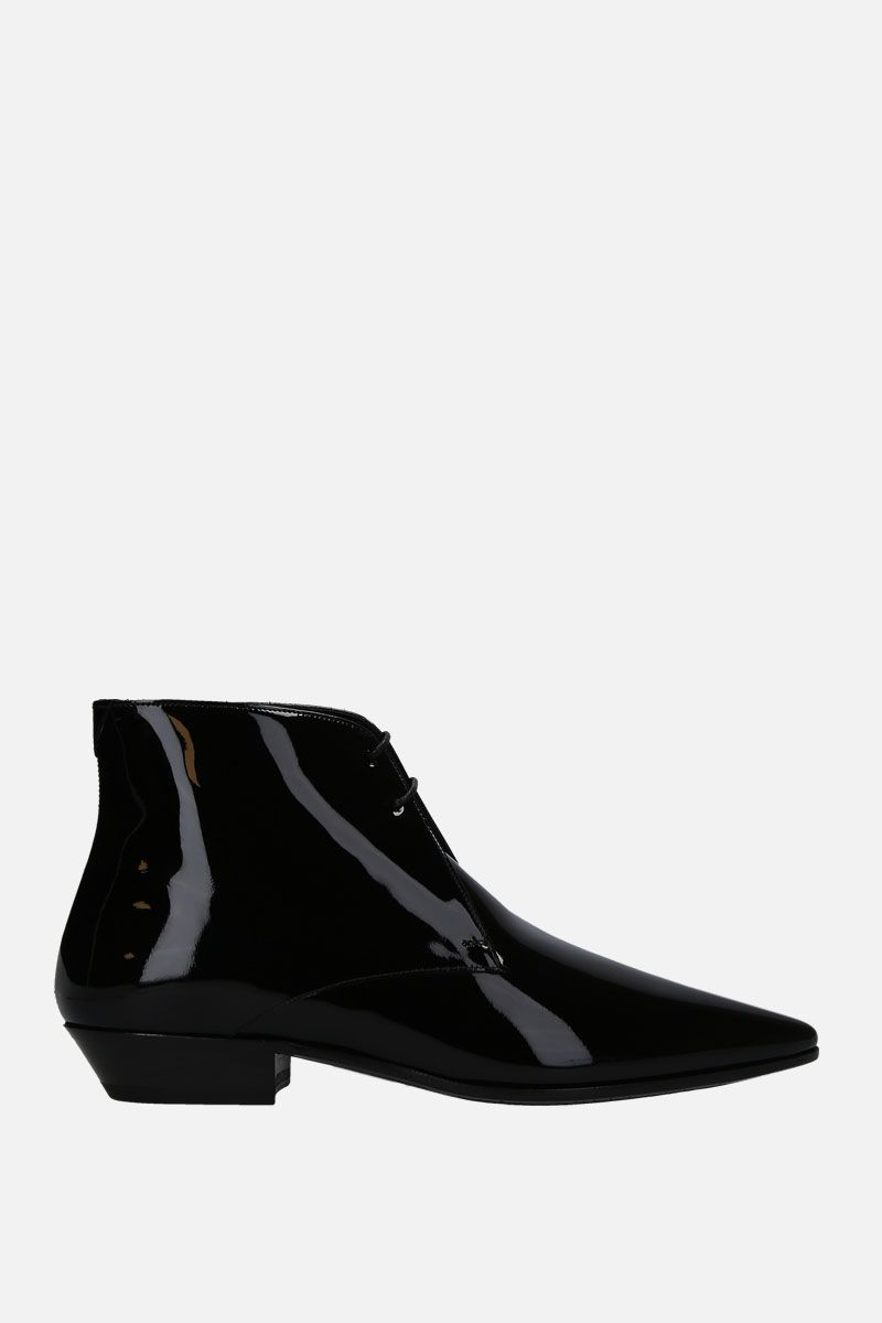 SAINT LAURENT: Jonas lace-up boots in patent leather Color Black_1