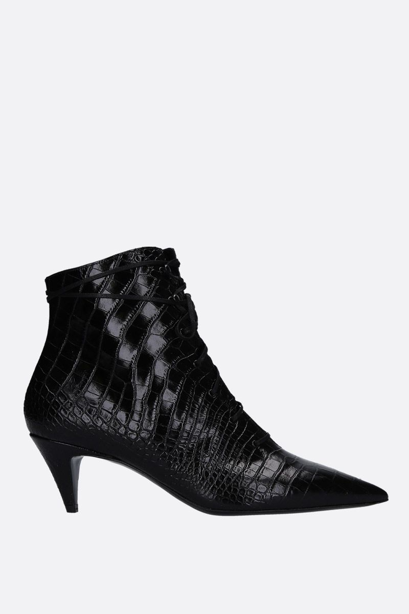 SAINT LAURENT: Kiki lace-up booties in crocodile embossed leather Color Black_1
