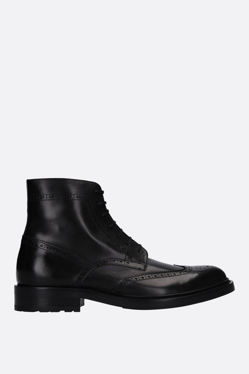 SAINT LAURENT: Army lace-up boots in smooth leather Color Black_1