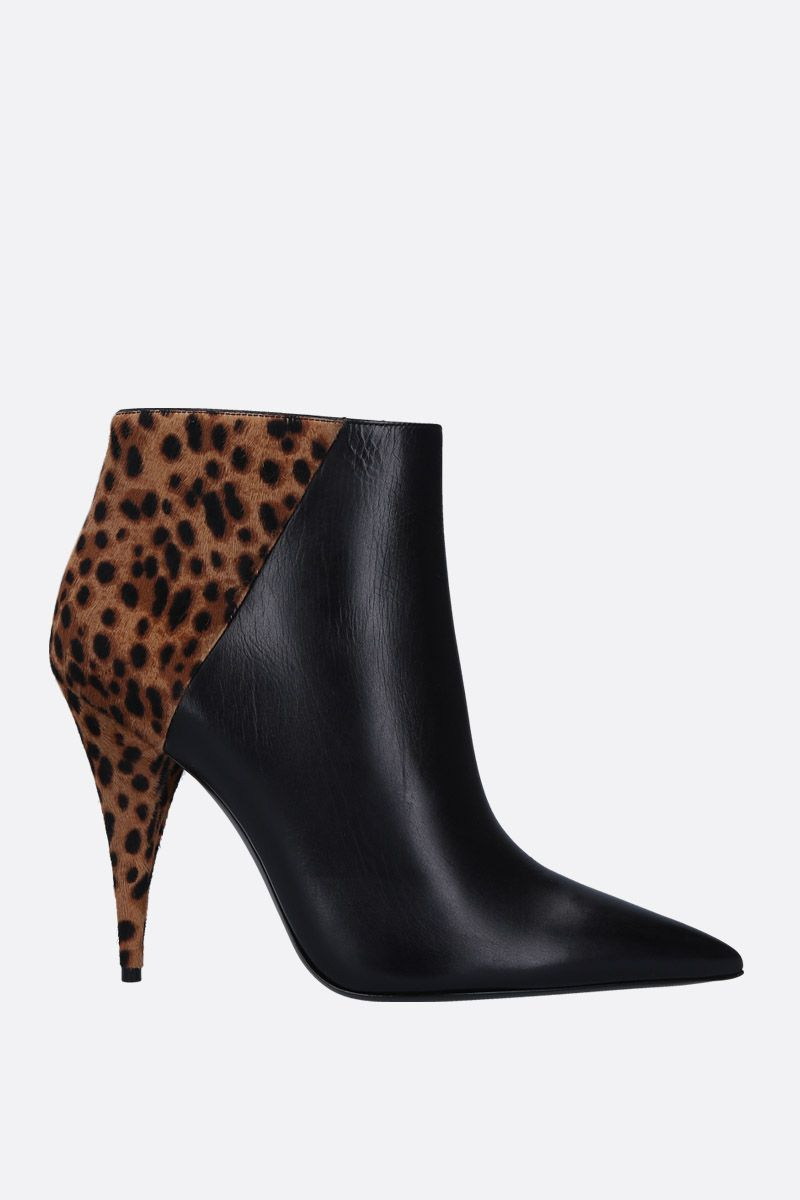 SAINT LAURENT: Kiki ankle boots in smooth leather and pony Color Animalier_1