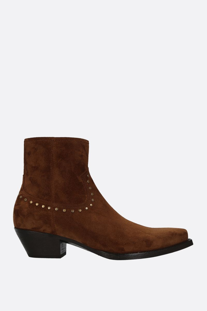 SAINT LAURENT: Lukas western boots in studded suede Color Brown_1