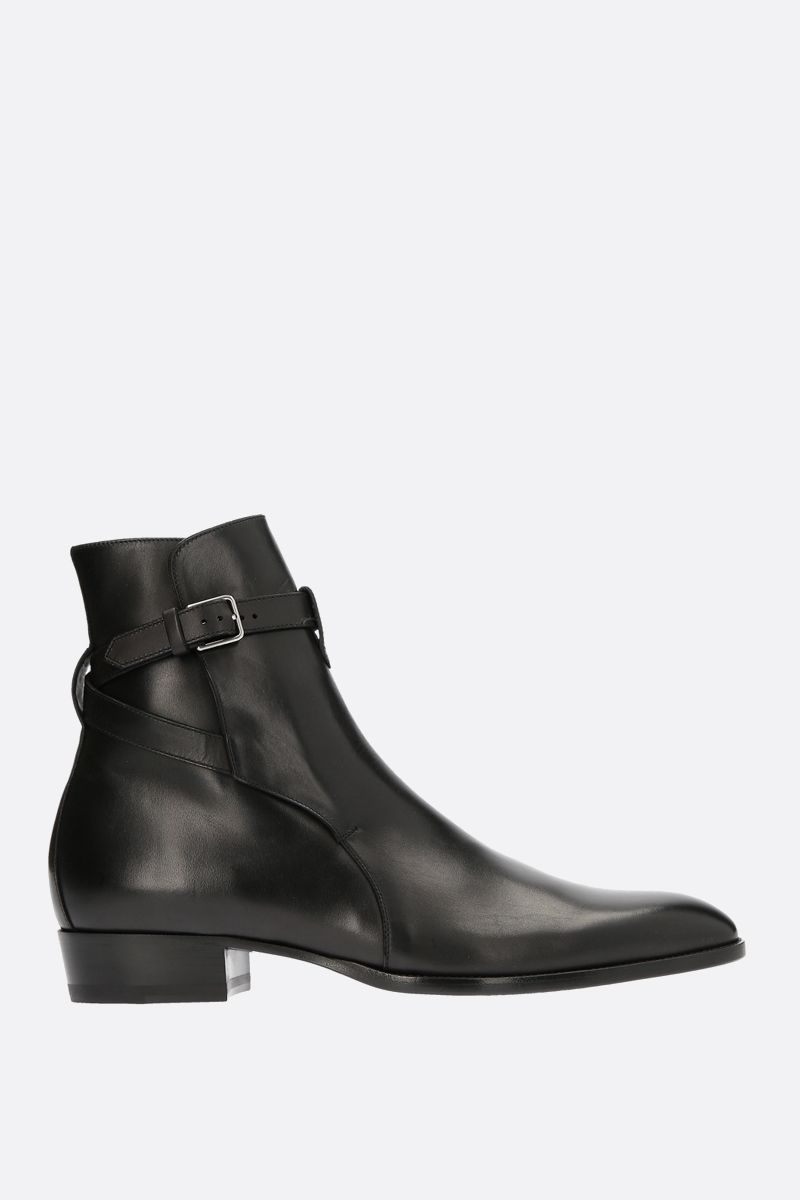 SAINT LAURENT: Wyatt smooth leather ankle boots Color Black_1