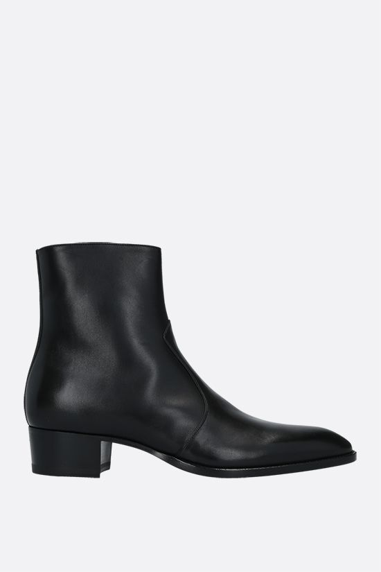 SAINT LAURENT: Wyatt shiny leather ankle boots Color Black_1