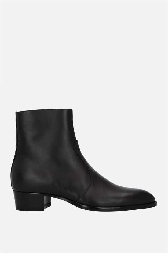SAINT LAURENT: Wyatt smooth leather ankle boots Color Brown_1
