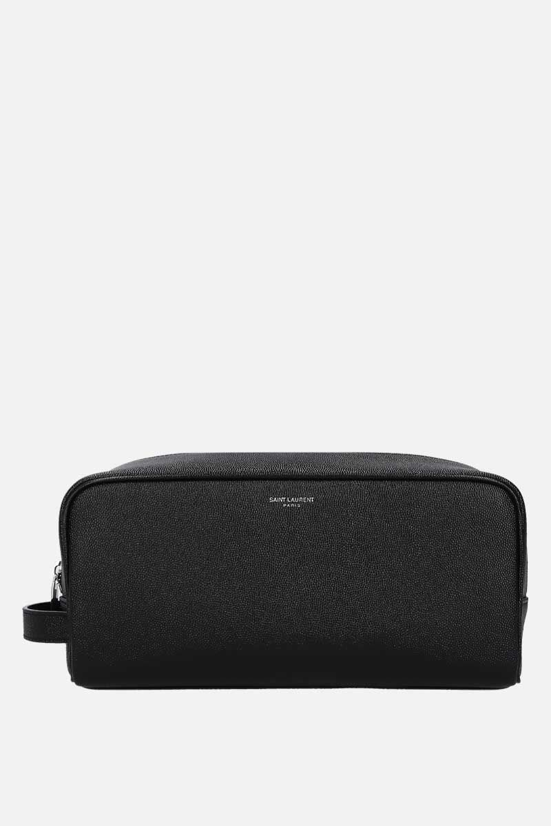 SAINT LAURENT: beauty case in pelle Grain de Poudre Colore Nero_1