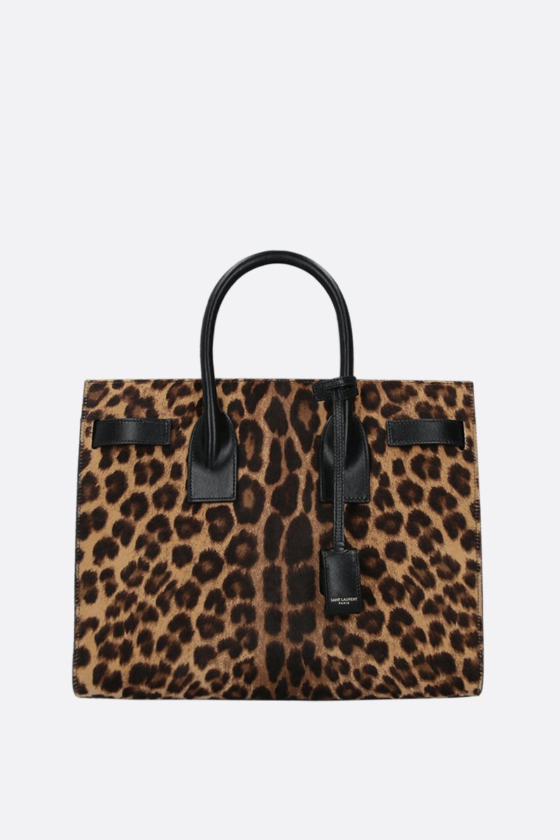 SAINT LAURENT: borsa a mano Sac de Jour small in cavallino leopardato Colore Nero_1