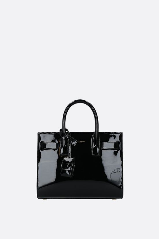 SAINT LAURENT: Sac de Jour nano patent leather handbag Color Black_1