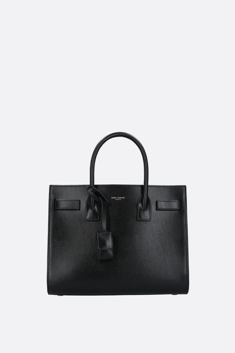 SAINT LAURENT: borsa a mano Sac de Jour baby in pelle lucida Colore Nero_1