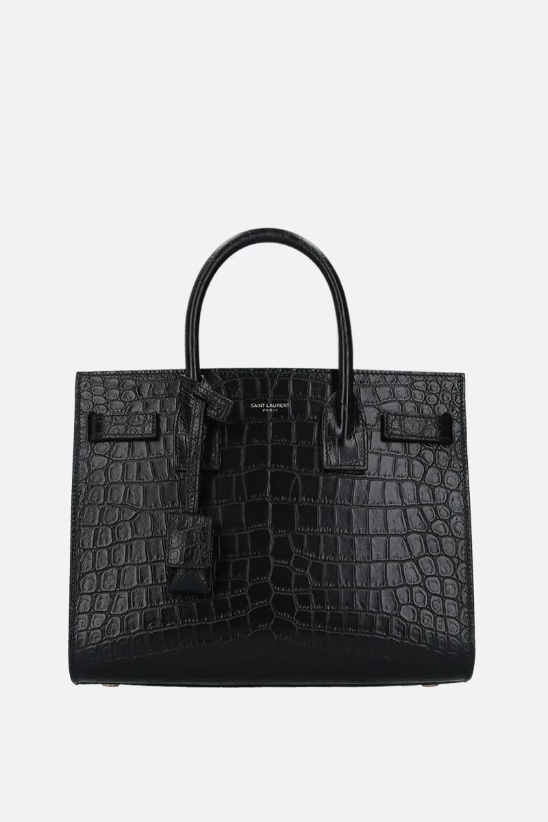 SAINT LAURENT: Sac de Jour baby crocodile embossed leather handbag Color Black_1