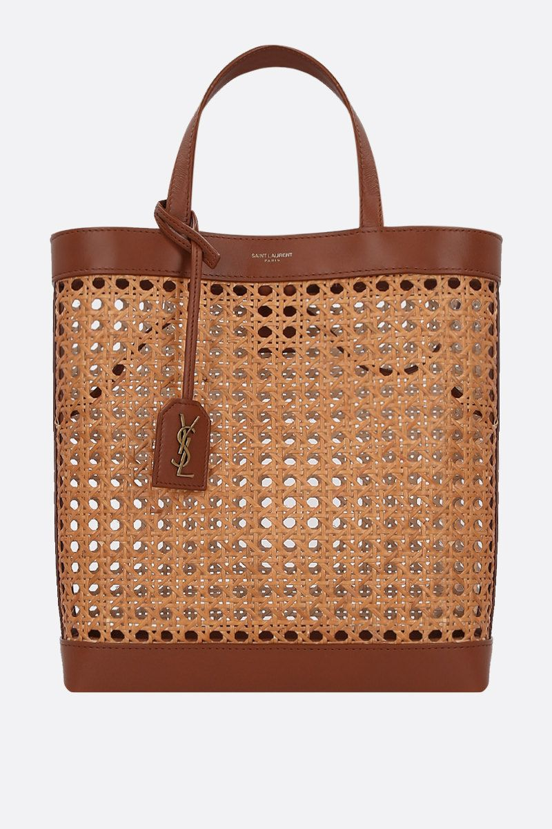 SAINT LAURENT: Toy shopping bag in woven cane and leather Color Brown_1