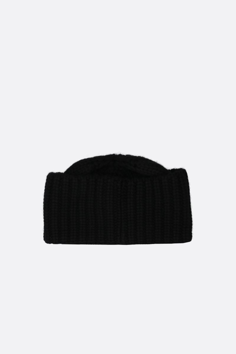 SAINT LAURENT: logo-detailed cashmere beanie Color Black_2