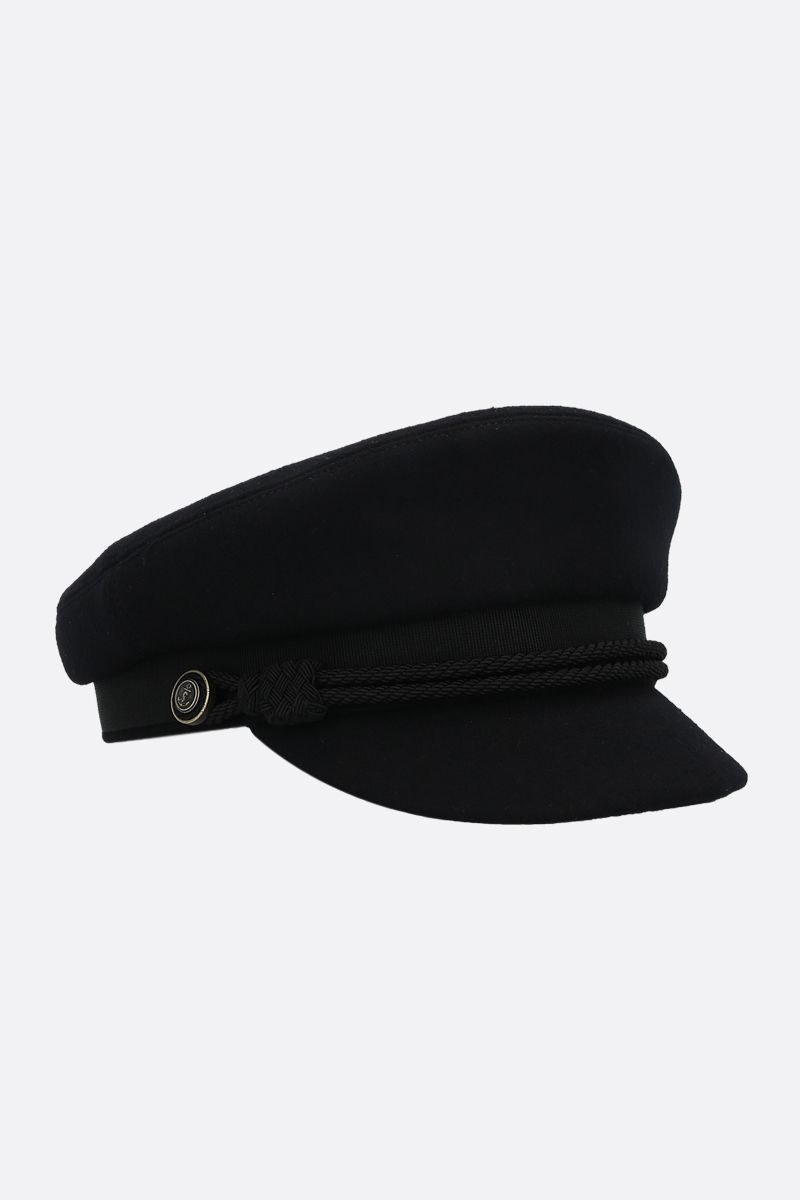 SAINT LAURENT: wool felt peaked cap Color Black_2