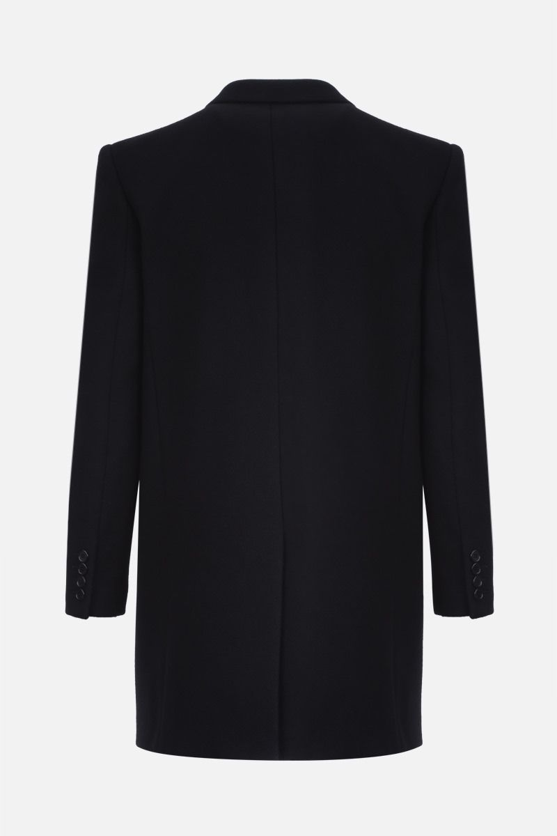 SAINT LAURENT: wool blend double-breasted coat Color Black_2